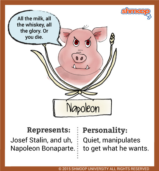 napoleon in animal farm Animal farm is a novel, written to portray revolution characters napoleon - the main pig who emerges as the leader of animal farm after the rebellionbased on joseph stalin, napoleon used military force (his nine loyal attack dogs) to intimidate the other animals and consolidate his power.