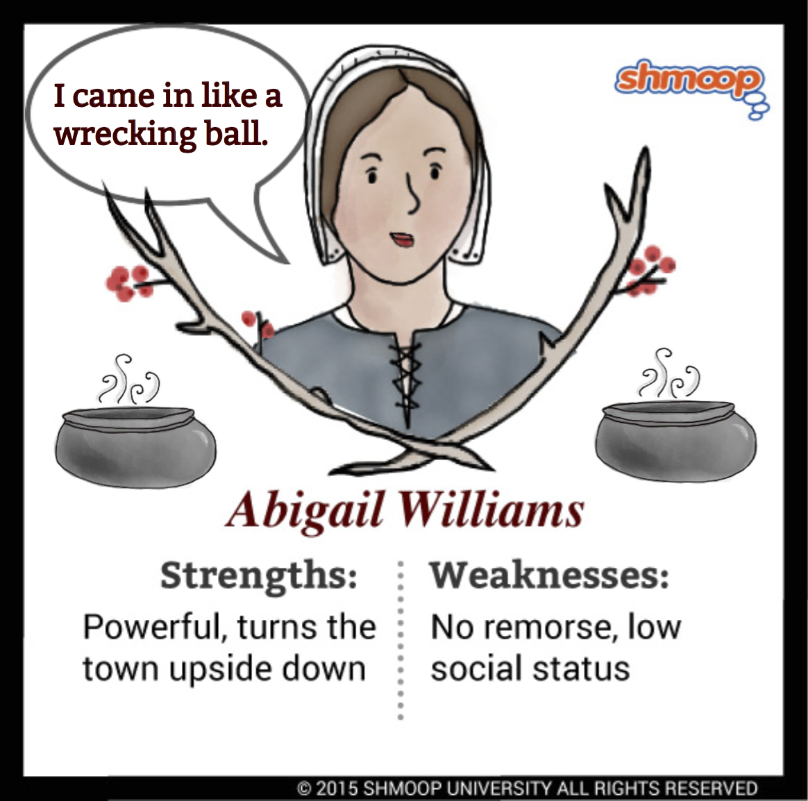 elizabeth proctor and abigail williams Abigail williams abigail williams was one of the main accusers in the salem witch trials the 11-year-old niece of reverend samuel parris showed signs of fits and.