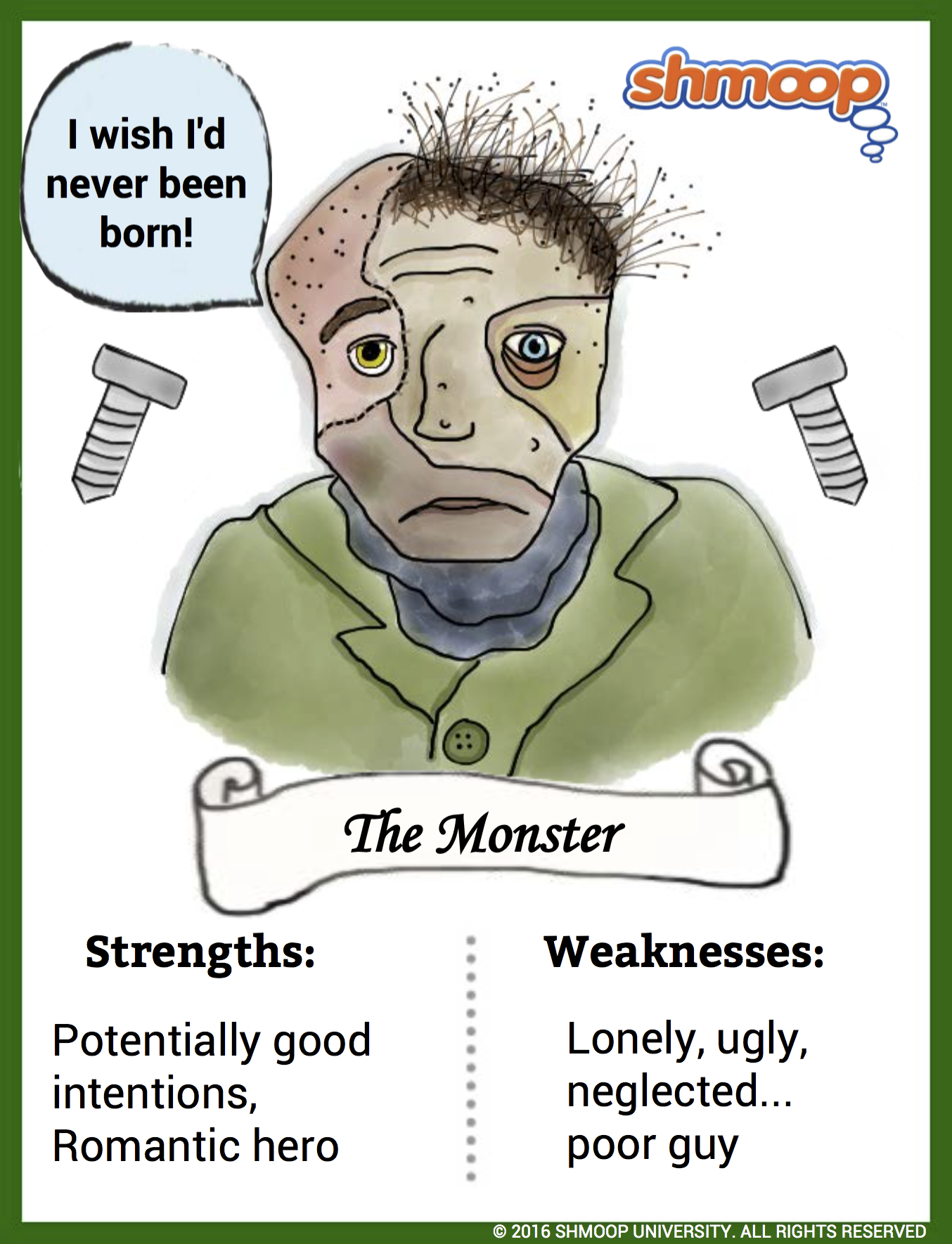 the monster in frankenstein character analysis