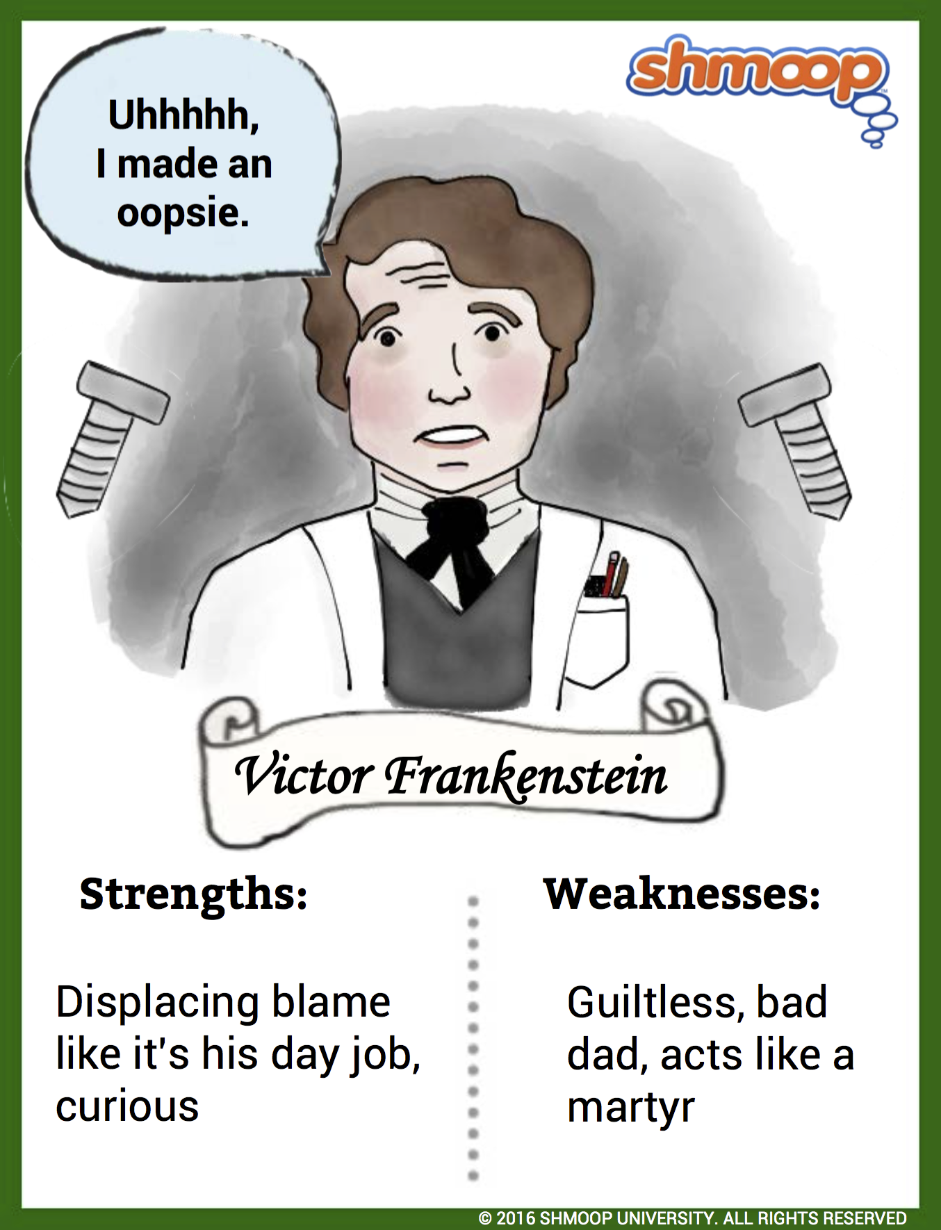 frankenstein responsibility Scientific knowledge & responsibility we asked you to help us select a new literature song thanks to your input, we're excited to present our new song, frankenstein in mary shelley's classic horror story frankenstein, we meet an ambitious scientist who is fascinated by the creation of life.