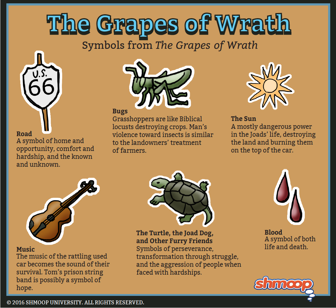 an analysis of the inter chapters and symbolism used in the grapes of wrath by john steinbeck Discuss fitzgerald's use of symbolism  john steinbeck was a great lover and observer of the natural  is the story used in grapes of wrath believable so far.