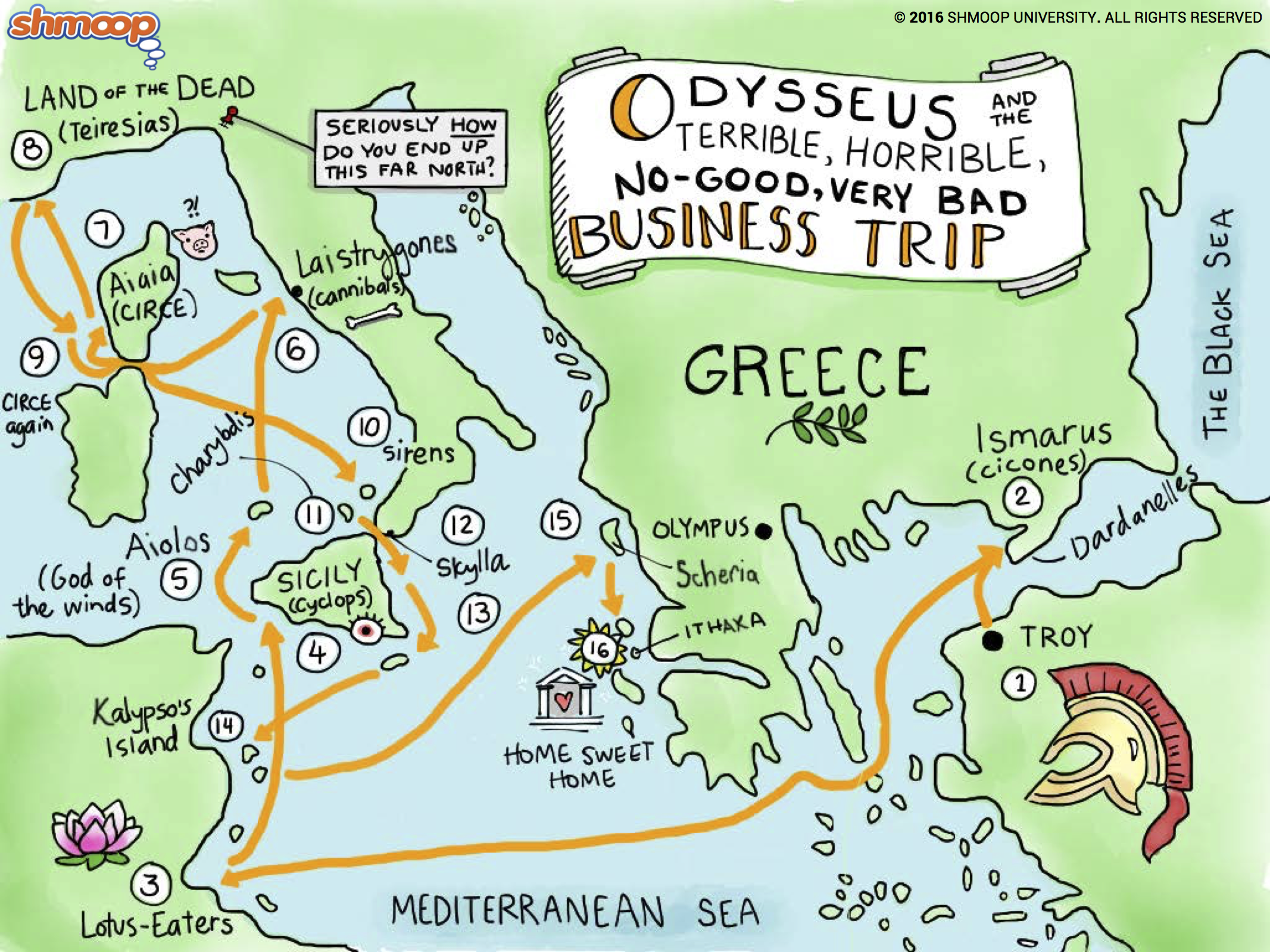the adventures of odysseus in homers the odyssey The odyssey is believed to be the work of the greek poet homer, who also   after hearing the story of odysseus's adventures, the phaeacians gave him a  ship,.