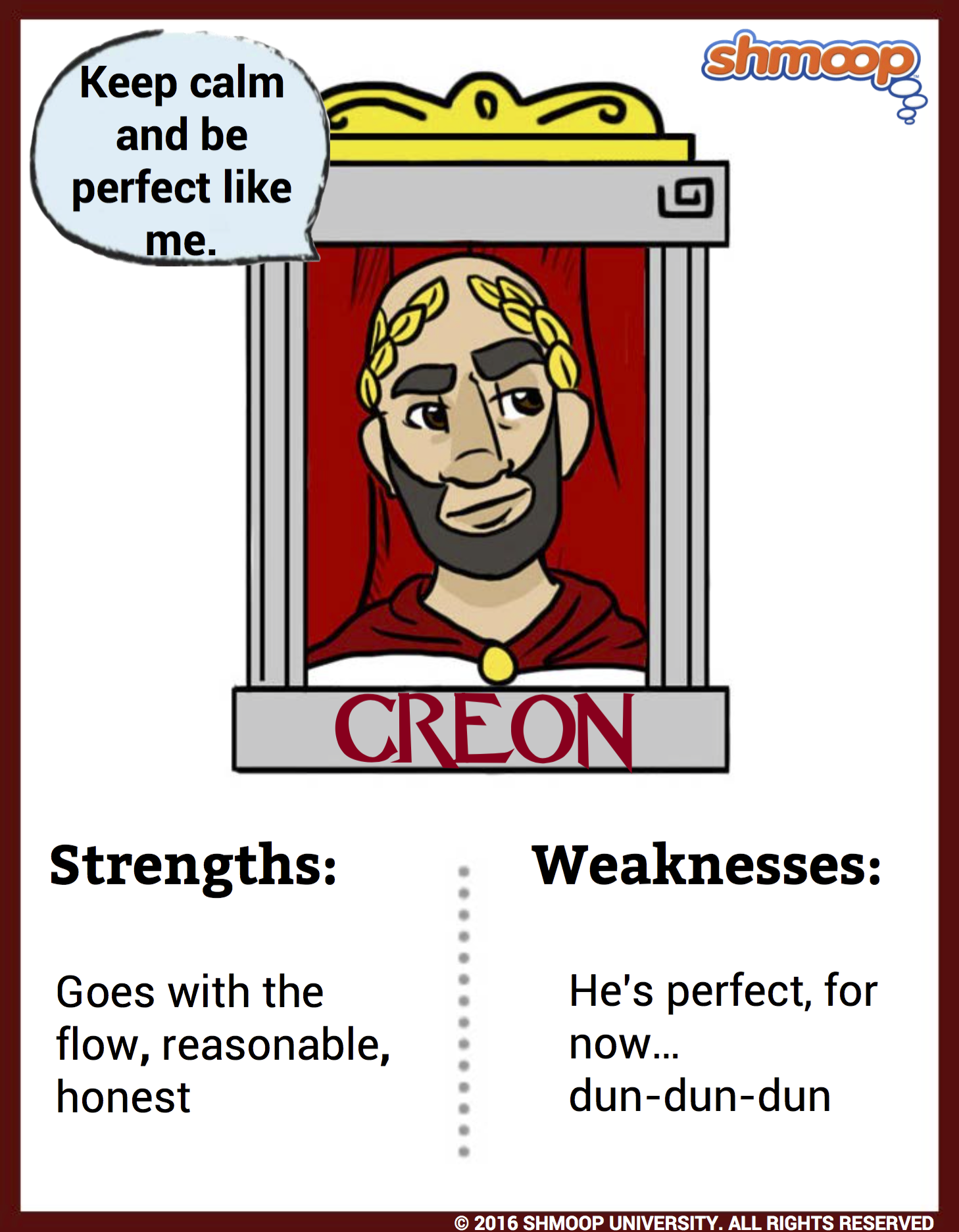 character analysis of creon Haemon has appeared in the when the cave is opened to retrieve antigone, she had already hung herself in his grief and anger, haemon tried to kill creon he at colonus by sophocles 434 avg rating — 85 ratings — published -400 add/edit characters want to read.