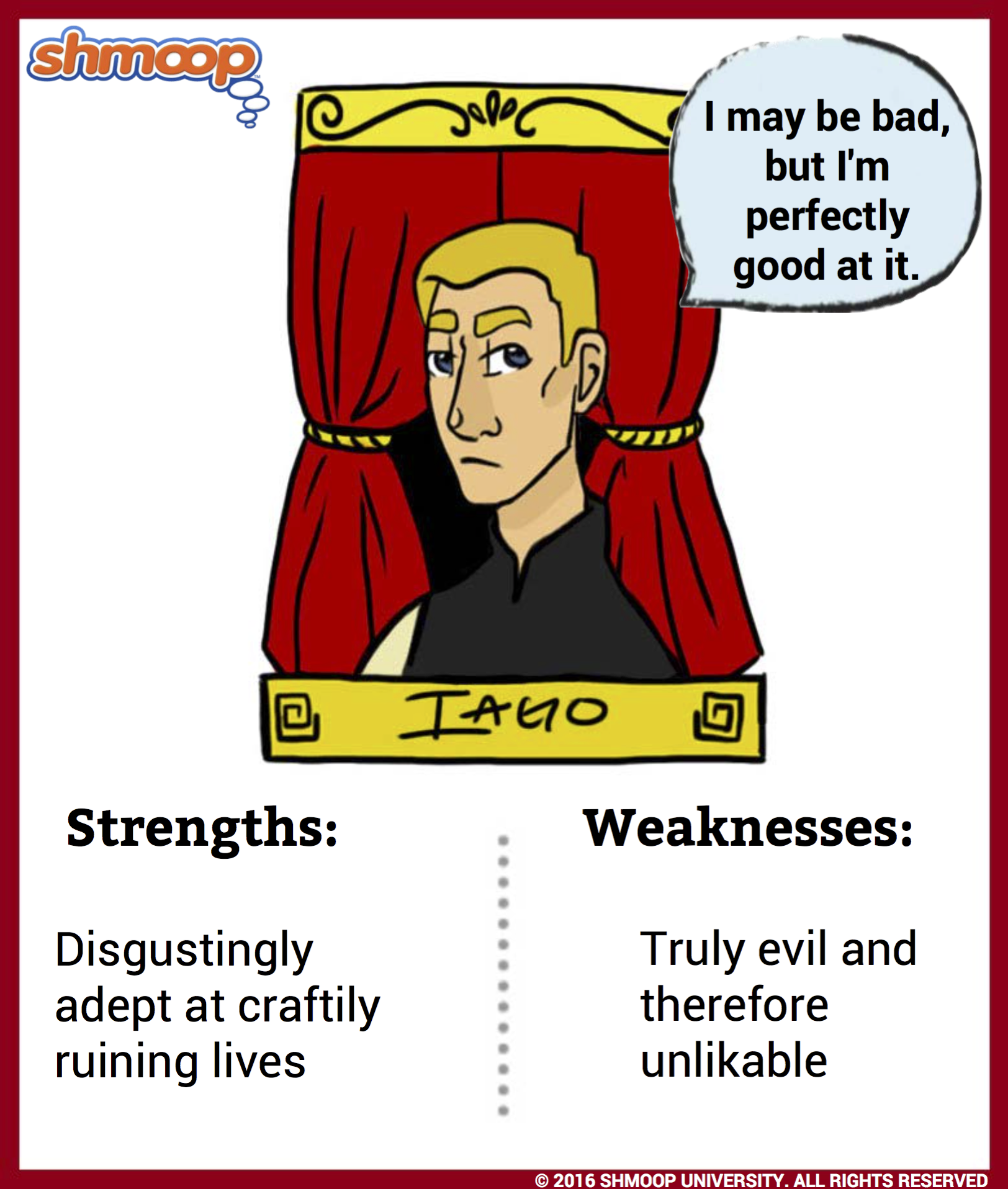 a character analysis of iago Desdemona iago othello roderigo othello: character analysis othello : main character othello is the main character of shakespeare's play, othello he is often judged by other characters.