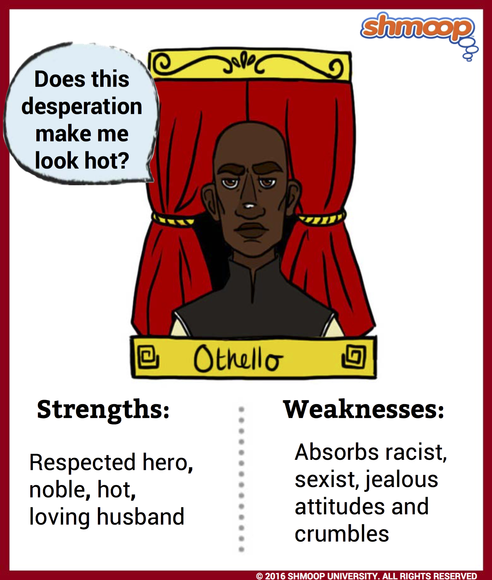 an analysis of tragedy in othello by william shakespeare When we think about shakespearean tragedy, the plays we usually have in mind are titus andronicus, romeo and juliet, julius caesar, hamlet, othello, king lear, macbeth, antony and cleopatra and coriolanus.