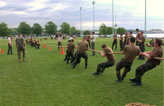 Military Cadets in a match of tug-of-war