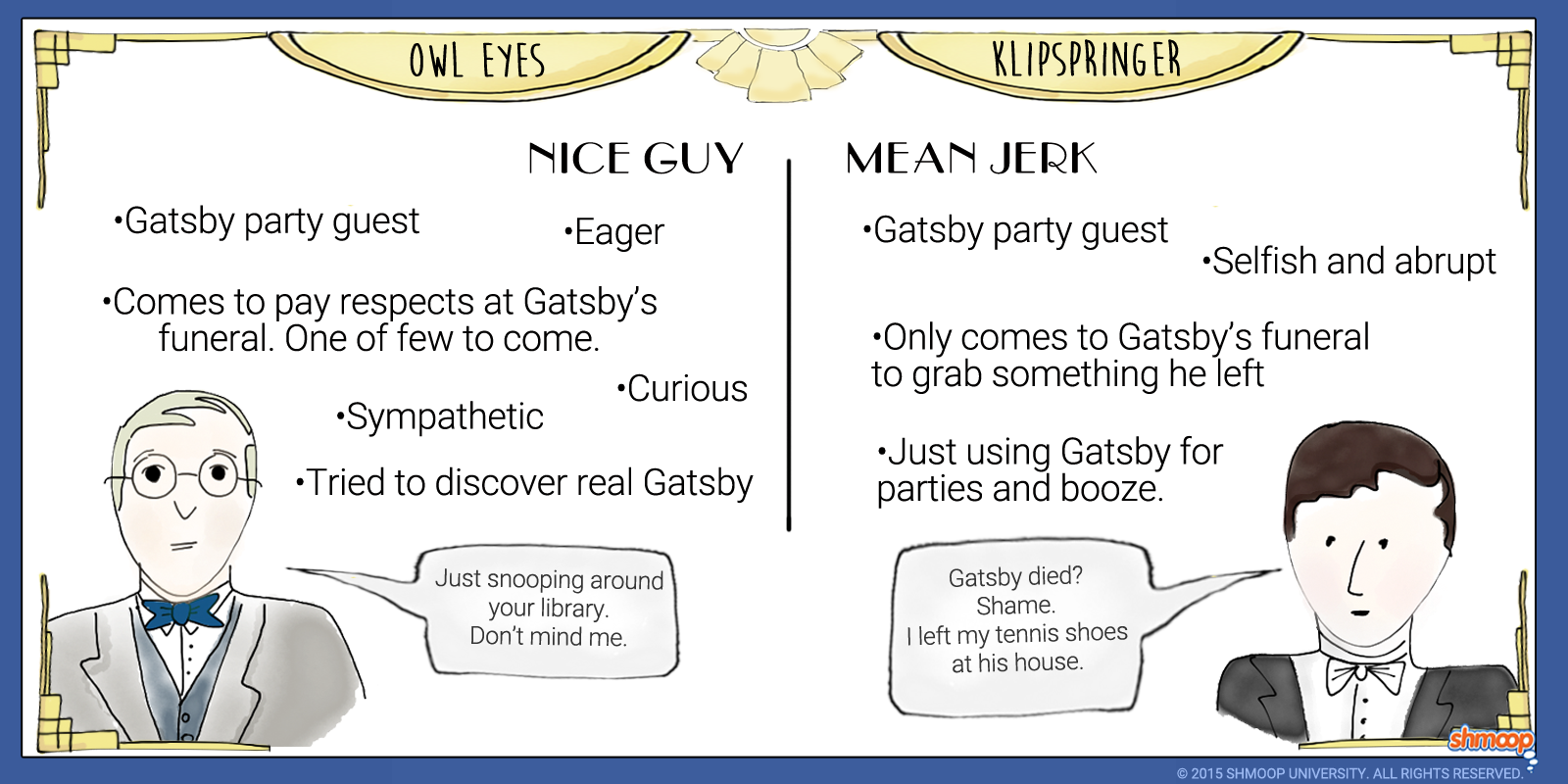 owl eyes and klipspringer in the great gatsby click the character infographic to