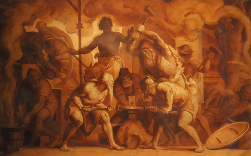 Aphrodite, Eros, and Hephaestus at the Forge
