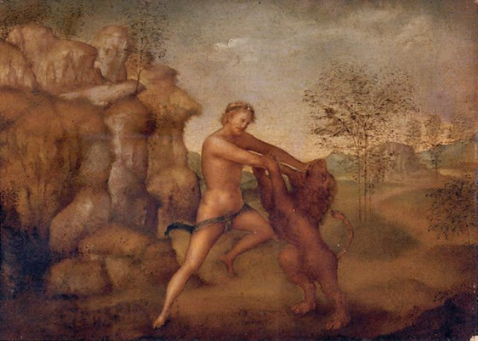 Heracles Fighting the Lion