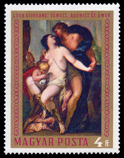 Venus and Adonis on a Postage Stamp