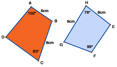 ABCD and EFGH quadrilaterals