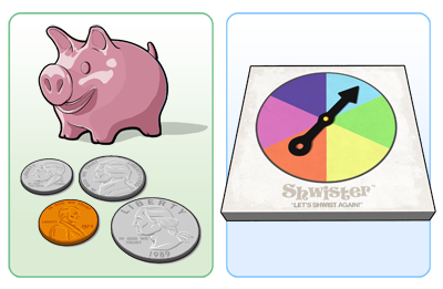 piggy bank and spinner