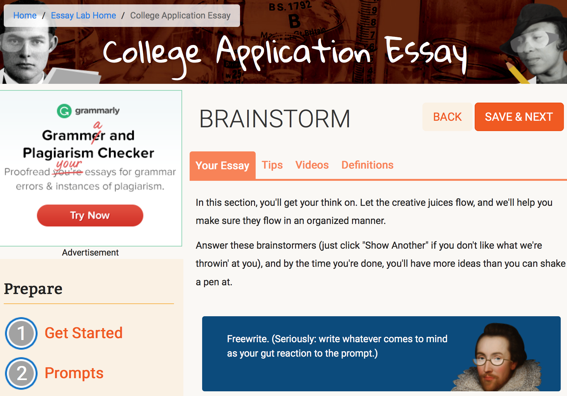 creative college essays