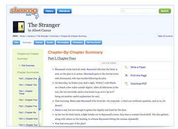 screenshot of summaries