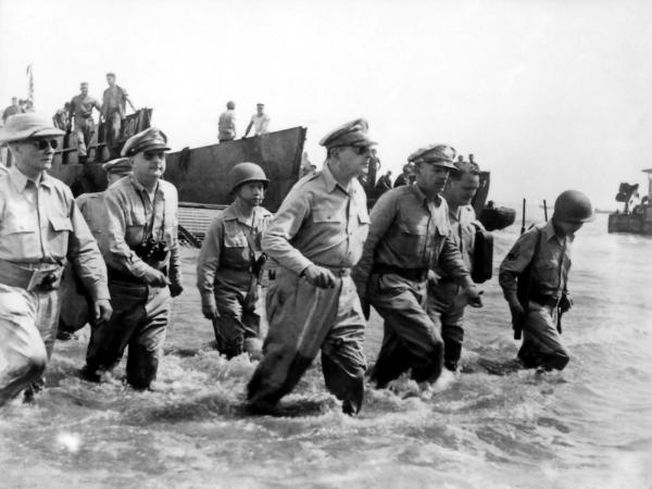 MacArthur on Leyte Island