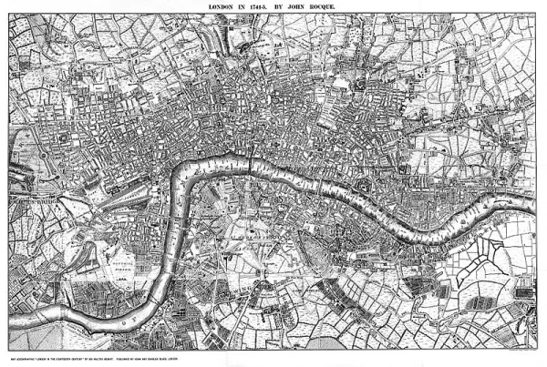 Map of London, 1740s