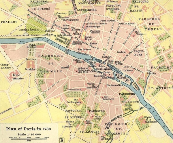 Map of Paris, 1789