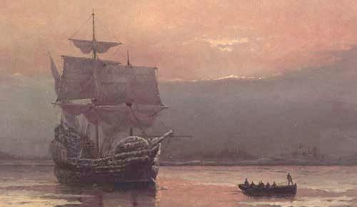 """Mayflower in Plymouth Harbor"""
