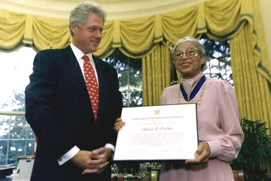 Rosa Parks and Bill Clinton