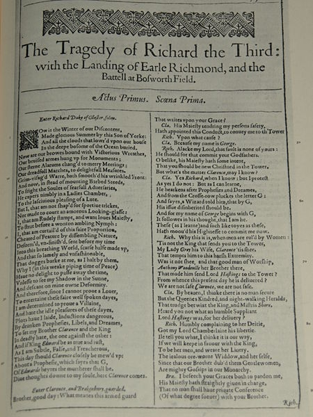 Title Page, First Folio