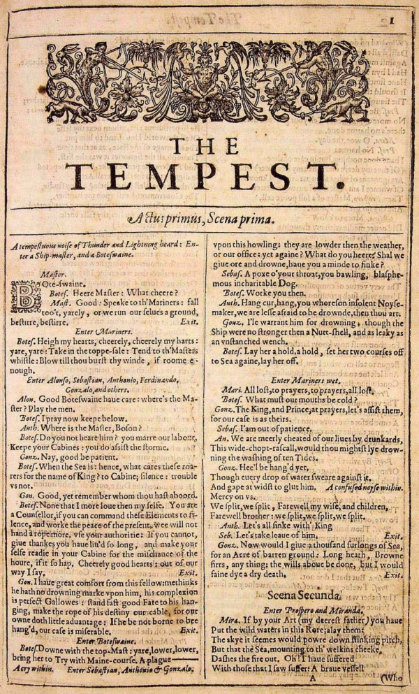 the tempest title page title page