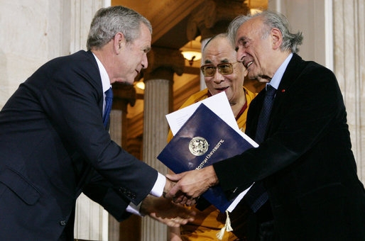 Bush, the Dalai Lama, Wiesel