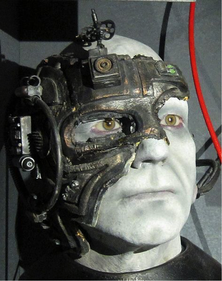 An image of Jean-Luc Picard as the Borg from Star <i>Trek</i>