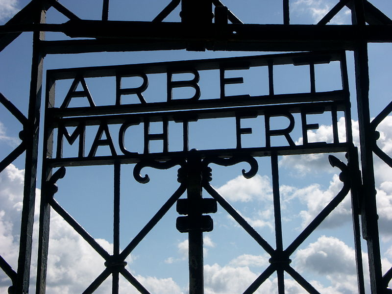 This is the gate to the very first concentration camp outside of Dachau, Germany. Arbeit macht frei translates to