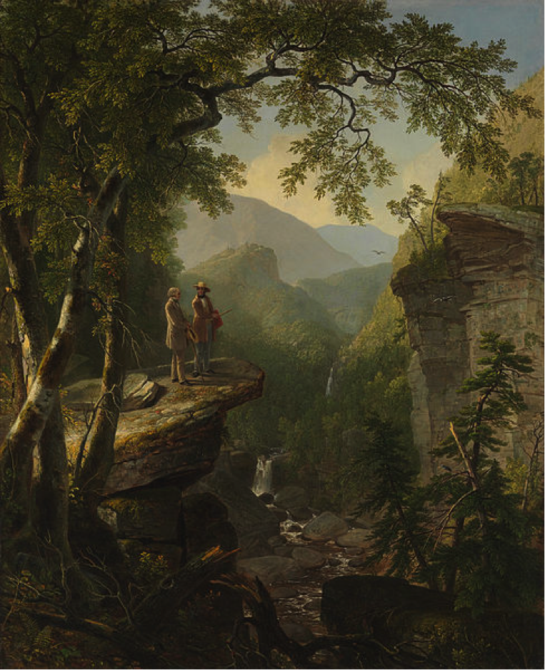 Two men overlooking a woodsy scene.