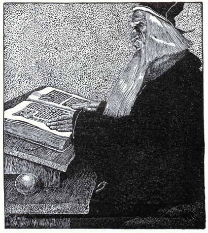 A woodprint of Merlin, scowling over a large book.