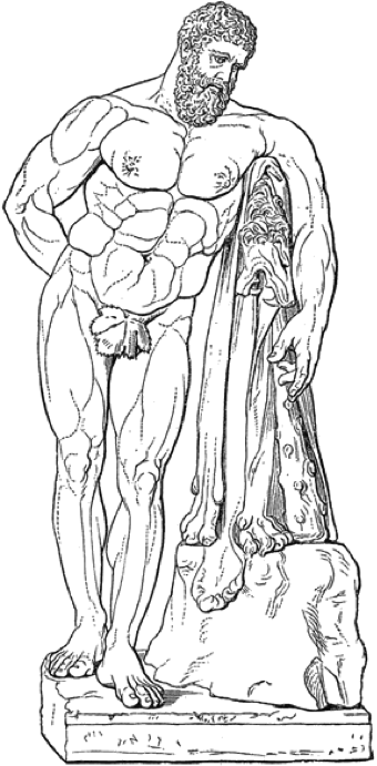 A black and white cartoon sketch of a muscular Heracles leaning thoughtfully on his club