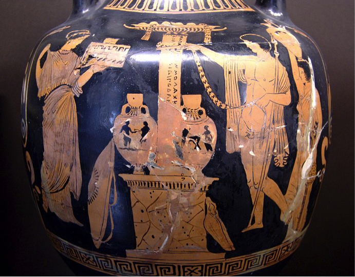 An amphora (small jar) depicting a young man and woman offering a sacrifice to a local deity