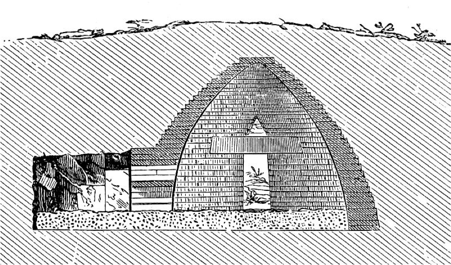 A black and white illustration of an ancient burial mound deep beneath the earth