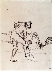 A sketch of a man digging in the ground