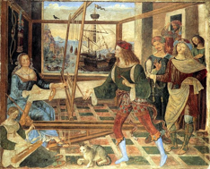 A painting by Italian Renaissance painter Pinturicchio depicting the return of Odysseus