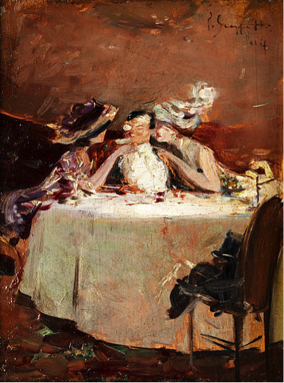 An oil painting of a man at a dinner table, with a woman fussing over him on each side.