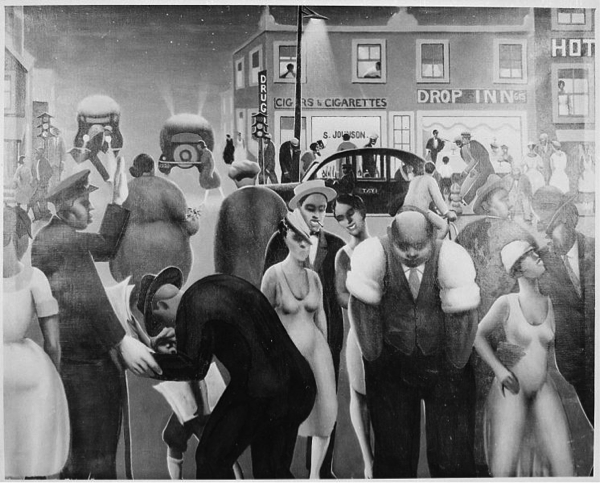 A painting of a Harlem street scene.